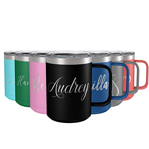 Personalized Coffee Mug Black Matte Finish 15 oz with Splash Proof Lid and Handle Custom Engraved Gift Stainless Steel Vacuum Insulated Cup