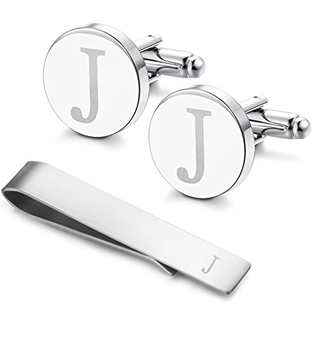 LOYALLOOK Classic Engraved Initial Cufflinks and Tie Clip Bar Set Alphabet Letter Formal Business Wedding Shirts J