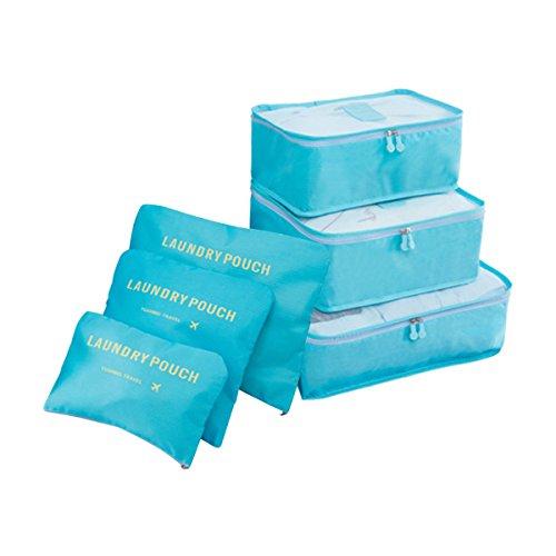 COOJA Set de 6 Travel Organizers 3 Packing Cubes + 3 Bolsas, Impermeable Organizador de Viaje para Maletas Bolsa Equipaje para Ropa Sucia Zapatos Maquillaje (Azul Claro)