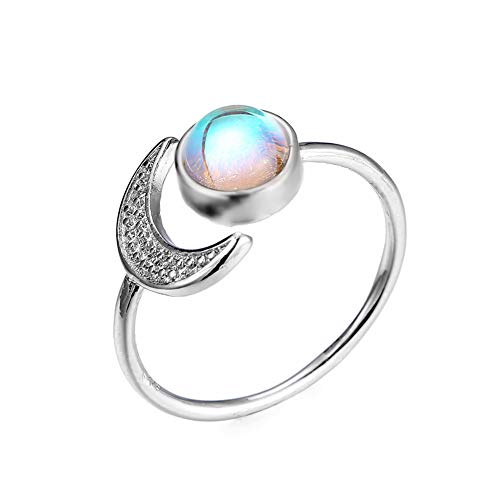 Sun Moon Open Rings Moonstone Gemstone Crescent Moon Finger Rings Mermaid Tail Statement Rings for Women Girls Birthstone Jewelry