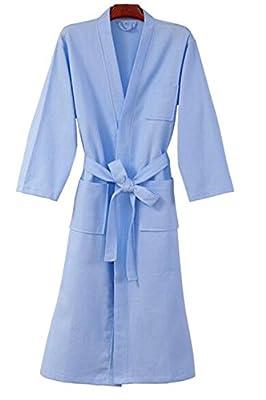 TRENDY XU Women Solid Color Waffle Weave Cotton Pajamas Robe Homewear Bathrobe