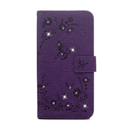 Vagenno Hülle für Huawei Mate 20 Lite Handyhülle Schutzhülle Hülle Diamant Leder Wallet Case Tasche PU Handyschale Brieftasche Flipcase Geldbörsen Kartenfach Stand Magnetische,Lila