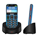Big Button Phone Big Button UNIWA V808G 2.31 inches 1400mAh Mobile Phone with a Camera SOS FM Torch Flashlight Charging Stand Strong 3G WCAMA Old Mobile Phone,Blue