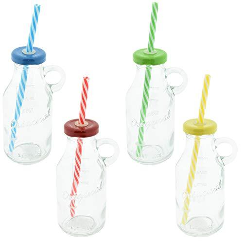 CREOFANT Juego de 4 vasos con pajitas en diseño de botella de leche, vaso de cóctel Hawaii Party 200 ml