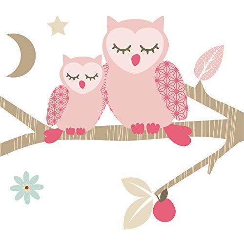 Anna Wand Bordüre selbstklebend Funny Forest Girls - Wandbordüre Kinderzimmer/Babyzimmer mit Eulen und Vögeln in Rosa-Taupe - Wandtattoo Schlafzimmer Mädchen & Junge, Wanddeko Baby/Kinder