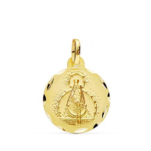 Alda Joyeros Medalla de Oro Virgen de la Cabeza 16 mm en Oro de 18 Ktes. Personalizable, Grabado Incluido.