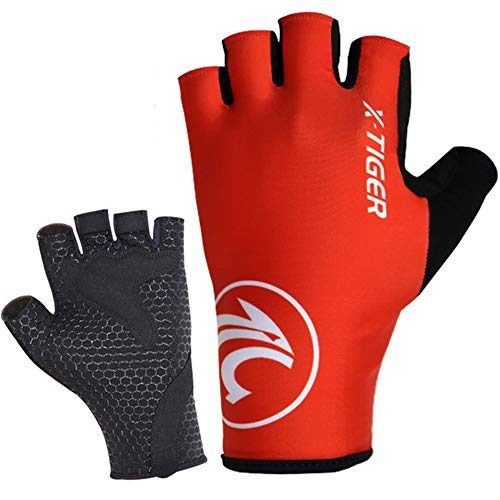 Cycling Gloves Motorcycle MTB Bike Bicycle Men Women Half Finger Breathable Shockproof Absorbing Antiskid Short Washable Mountain Road Sports Riding Racing Outdoor,red,L 8.5-9.5cm