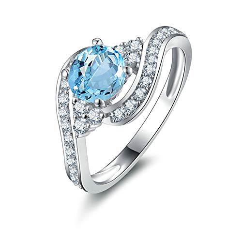 Adokiss Jewellery Silver Rings for Women Solid 925, Anniversary Ring for Wife Round 6X6MM Blue Topaz with White Cubic Zirconia | Silver | Size O 1/2