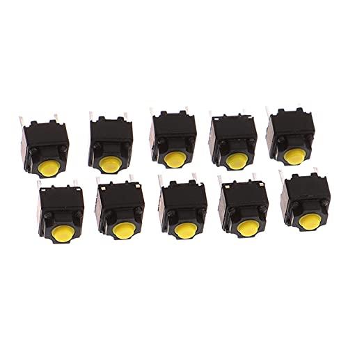 XIAOFANG 10pcs / Lot botón de Silencio 6 * 6 * 7.3mm Silencio Interruptor de Silencio Ratón inalámbrico Botón con Cable Micro Interruptor Amarillo pulsador Interruptor