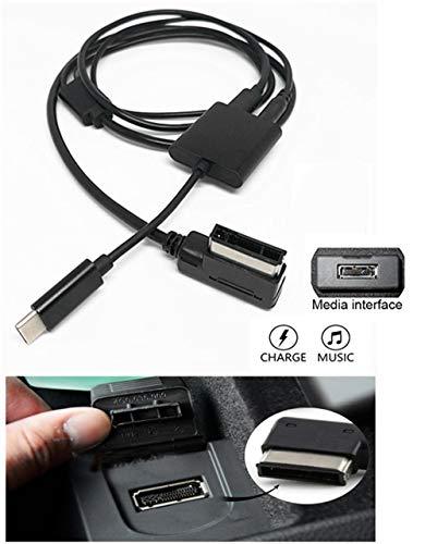 USB C AUX Ladekabel für Mercedes Benz KFZ Media Interface Typ C Auto Digital Audio Schnellladegerät kompatibel mit Pixel 2 XL HTC U11 U12+ Samsung S9 S8 Note 8 LG G6 V30 für Select MB Modell