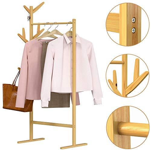 Casaria Kleiderständer Garderobenständer Bambus 8 Haken 1 Kleiderstange 164x66x40 cm Flur Schlafzimmer Massiv Holz Natur