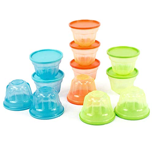 Mindable Small Lunch Box Plastic Food Containers for Kids, 12-pack 6 ounces, BPA-Free, with Lids - Stackable Freezer Safe