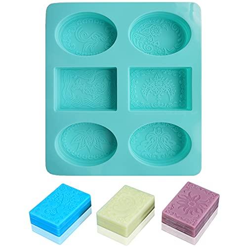 Veaoiy Molde de silicona para hacer jabón, hecho a mano, forma rectangular y ovalada, para hacer jabón, color verde menta