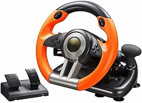 ZSTY Rueda de Carreras de PC, Coche Universal USB SIM 270/900 Grade Racing VIETERIO con Pedales, Adecuado para PS3, PS4, Xbox One y Nintendo Switch,Naranja