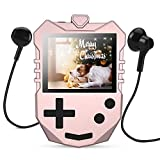 AGPTEK MP3 Player for Kids, Portable 8GB Music Player with Built-in Speaker, FM Radio, Voice Recorder, Expandable Up to 128GB, Rose Gold,K1