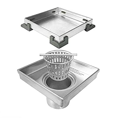 Neodrain Square Shower Drain with Removable Tile insert Grate, 4-Inch, Brushed 304 Stainless Steel, With WATERMARK&CUPC Certified, Includes Hair Strainer