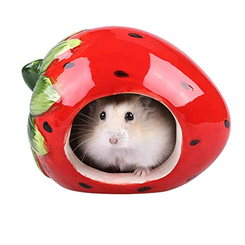 gutongyuan Hamster Hideout Ceramic Adorable Cartoon Shape Hamster House Chinchilla Mini Hut Small Animal Hideout Cave Cage Accessories (Strawberry)