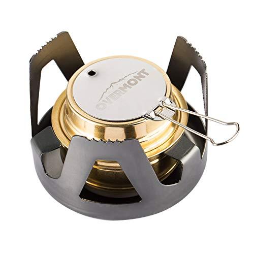 OVERMONT Mini Kupfer Spirituskocher Campingkocher mit Aluminium Ständer für Camping Wandern Ausflug Reise Gold/Grau/Olivgrün