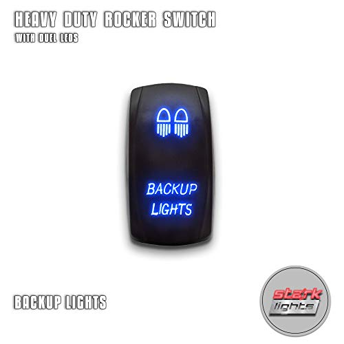 BACK UP LIGHTS - Blue - STARK 5-PIN Laser Etched LED Rocker Switch Dual Light - 20A 12V ON/OFF