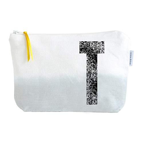 renna deluxe Kulturtasche personalisiert mit Monogramm grau Farbverlauf (T Grau, Small) | Handmade in Deutschland | Handmade in Deutschland