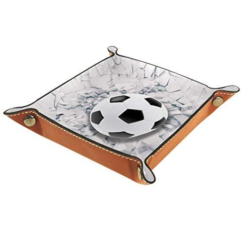 YATELI Caja de Almacenamiento pequeña, Bandeja de Valet para Hombre,Balón de fútbol Que Viene en la Pared Agrietada,Organizador de Cuero para Llaves de Caja de Monedas