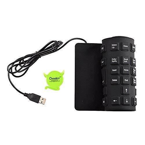 Tastiera flessibile, Oxsubor (TM) silicone flessibile lavabile Tastiera con USB 2.0 109 tasti di dimensioni compatibili per PC portatile Windows 7 32/64 Mac (nero)
