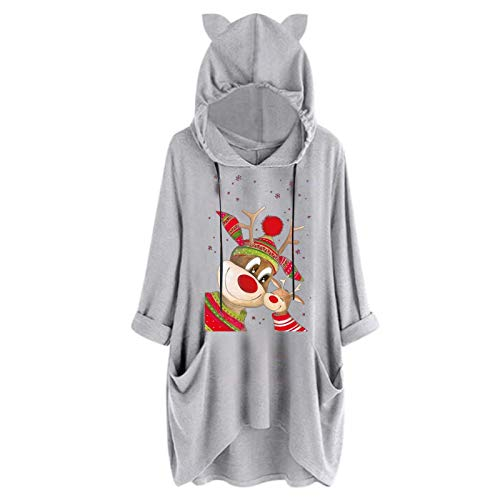 Dosoop Womens Long Sleeve Pocket Tops, Christmas Reindeer Print Hoodie Sweater Sweatshirt Hooded Pullovers Blouse Clothes