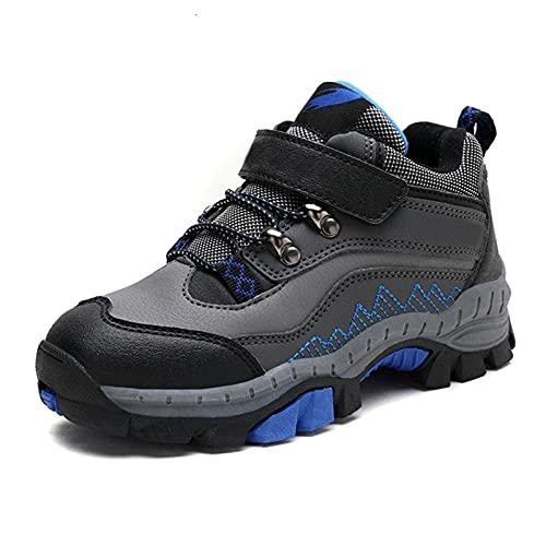 ZHUAN Waterproof Hiking Shoes Winter Children Hiking Shoes Leather Autumn Waterproof Warm Sports Shoes for Boys Non-Slip Outdoor Climbing Shoes