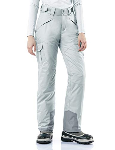 TSLA Women's Snow Pants Windproof Ski Insulated Water-Repel Rip-Stop Bottoms, Snow Cargo(xkb92) - Steel, Medium [Waist 27.5-29.5_Hips 41-43 Inch]