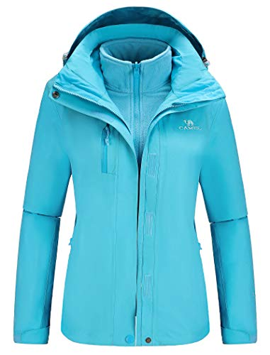 CAMEL Outdoor Jacket Women Winter Ski Jacket Windbreaker 3 in 1 Waterproof Hooded Rain Coat for Traveling Climbing Hiking 2.0