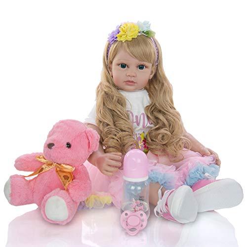 Cenphua 60cm Reborn Dolls Realistico Silicone Vinile Neonati Capelli Lunghi Ragazza Abiti Principessa Regali Fatti a Mano realistici (Type 3 - Blue Eyes)