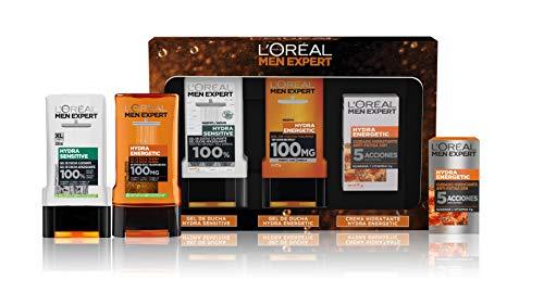 L'Oréal Men Expert Pack de Ducha Antifatiga para Hombre, Incluye Gel de Ducha Calmante Hydra Energetic, Gel de Ducha Taurina Hydra Sensitive y Crema Hidratante 24H Hydra Energetic
