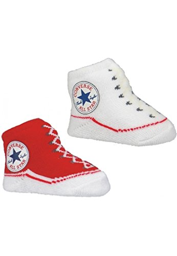 Converse Baby Söckchen Baby Schuhe 356 Red 1 x Rot und 1 x Weiß 2er Pack, OneSize:OneSize