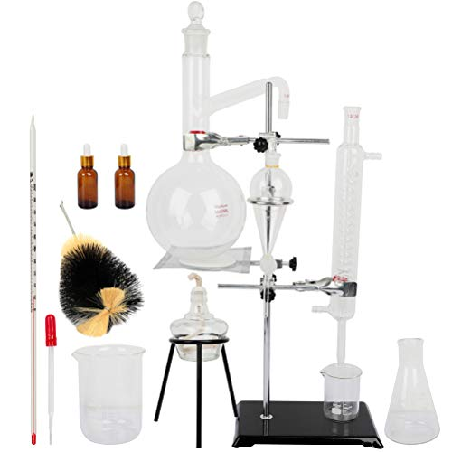 1000ML Lab Distillation Apparatus with Flask Essential Oil Extraction Distillation Apparatus Water Distiller Purifier Teaching Equipment Chemistry Glassware Kits for Home Distiller Distilling