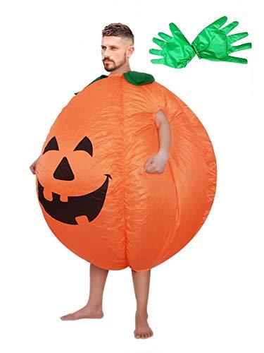 Hangarone Traje Inflable de Calabaza, Disfraz Inflable Halloween Adulto Cosplay Ropa Divertida con Guantes para la Fiesta de Halloween de Pascua.