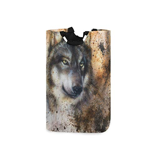 Suzanne Betty SEULIFE - Cesta para la colada, diseño abstracto de animales para perros, cesta de lavandería, cesto de ropa, plegable, bolsa de la compra plegable, soporte para libros de juguetes