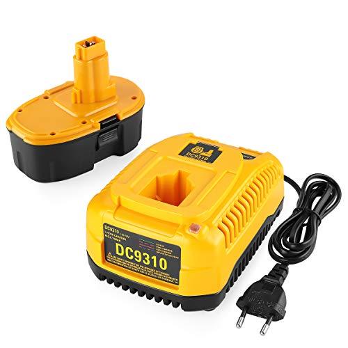 XNJTG 18V 3.0Ah Ni-MH Batteria e 7,2V-18V rapido Caricabatterie per Dewalt DE9098 DE9094 DE9096 DE9039 DW9096 DW9095 DW9098 DE9503 DC9096