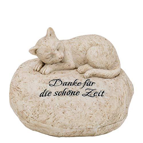 Trauer-Shop Deko Grabstein Katze mit Gravur Danke für die schöne Zeit. Breite 16 cm. Lieferung: 1 Stück
