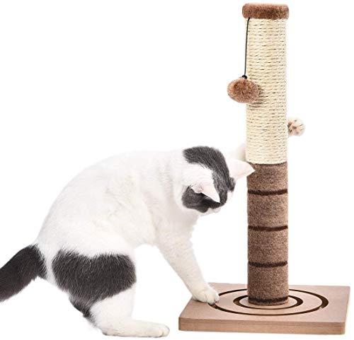 PAWZ Road Kratzbaum für Katzen Sisal mit Katzenspielzeug Kratzen Katzenkratzbaum Kratzsäule Kratzpsäulen Kätzchen Kleine Scratcher Plüschstange mit extra Pfosten baumelnder Kugel Höhe 54cm Braun