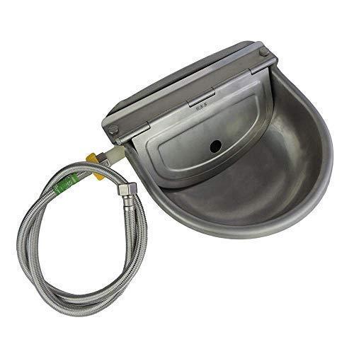 Lucky Farm Automatischer Tränke-Viehwassertrog mit Rohr-Schwimmerventil Hund Wasserschale 3 in 1 Edelstahl-Hundenapf für Schafziegenpferde-Viehtrinker
