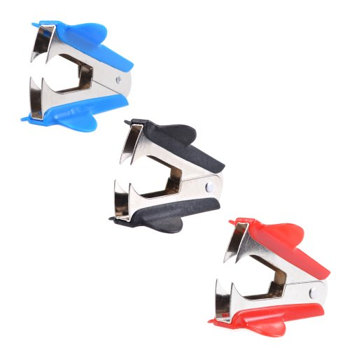 Cosmos 3 PCS Extra Wide Steel Jaws Style Staple Remover (Black, Red, Blue)