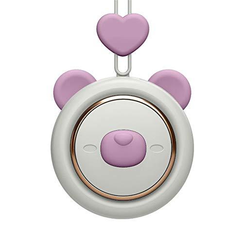 Memea Ventilador de cuello USB recargable, diseño de hoja, forma bonita, silencioso y fácil de llevar, adecuado para exterior, oficina, dormitorio, fresco