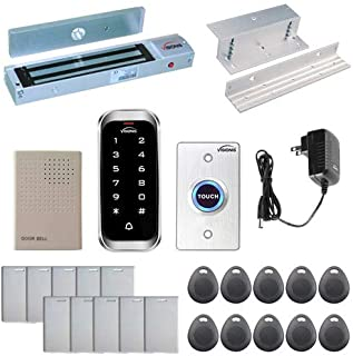 Visionis FPC-5593 One Door Access Control Inswinging Door 600lbs Maglock with VIS-3003 Slim Indoor Outdoor Rated IP68 Keypad/Reader Standalone EM Mifare No Software 2000 Users Kit