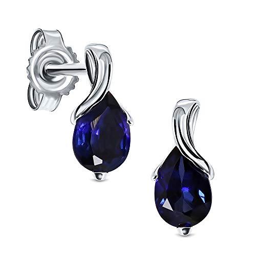 Miore Ohrringe Damen tropfen Ohrhänger mit Edelstein/Geburtsstein Saphir in Blau aus Weißgold 9 Karat / 375 Gold, Ohrschmuck