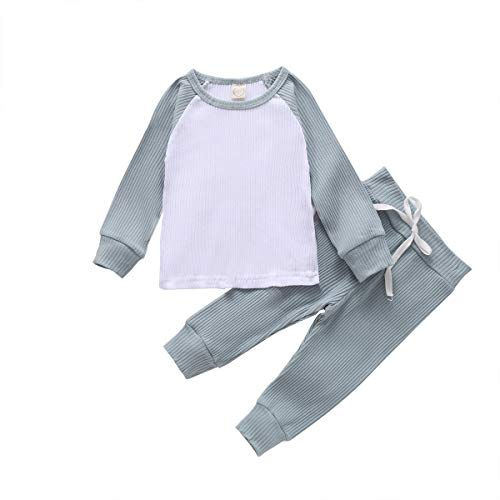 Toddler Baby Boy Girl Fall Outfits Set Long Sleeve Top and Pants Solid Color Knitted Ribbed Pajamas Sets (Light Blue, 6-12 Months)