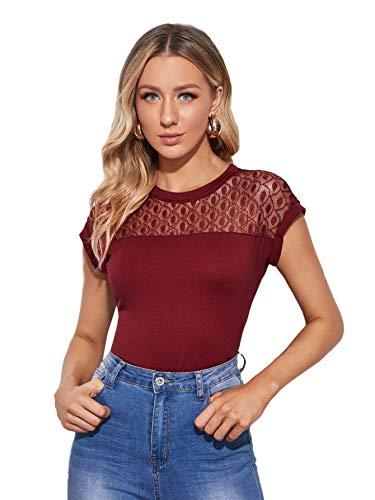 DIDK - Camiseta de encaje para mujer, elegante, manga corta, cuello redondo, estilo casual, de verano, camiseta granate S