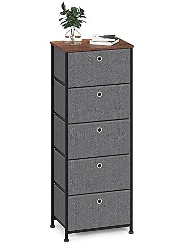 Cómoda de Tela Cajonera Organizador Vertical Almacenaje Gabinete de Almacenamiento Estrecho con 5 Cajónes Armario Alto para Entrada Salon Pasillo Cocina Dormitorio Madera+Metal Negro+Gris