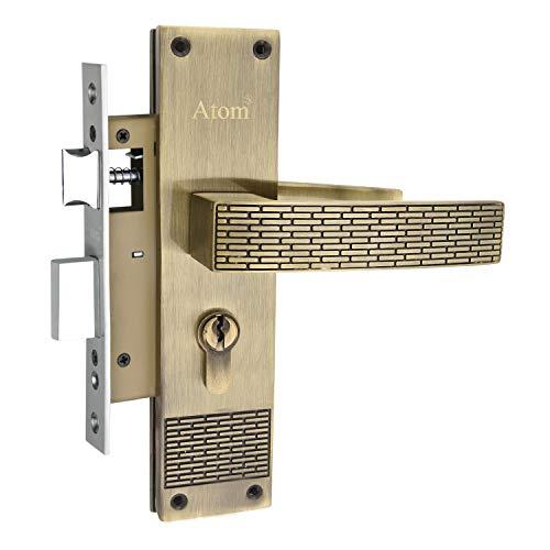 Atom Mortise Door Handle Set with Lock Body   Brass Antique Finish   3 Keys   6 Lever Double Stage Lockset for Door, Bathroom,...