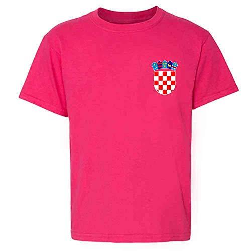 Croatia Soccer Retro National Team Sport Football Pink XS Youth Kids Girl Boy T-Shirt