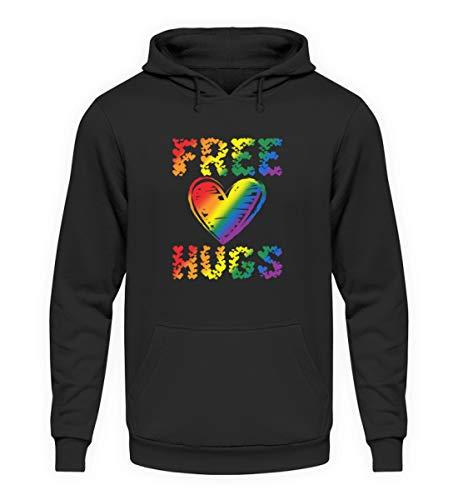 EBENBLATT Free Hugs LGBT Herz Geschenk - Unisex Kapuzenpullover Hoodie -M-Jet Schwarz